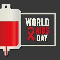 lettrage de la journée mondiale du sida avec une poche de sang et un ruban rouge vecteur