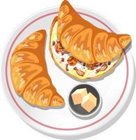 vue de dessus des sandwichs croissants dans une assiette vecteur