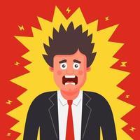 un homme en costume a été choqué. électricité statique sur les vêtements. illustration vectorielle de caractère plat. vecteur