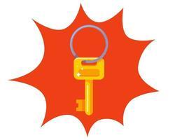 petite clé en or sur un anneau de fer. illustration vectorielle plane. vecteur