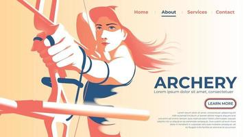 illustration vectorielle pour l'interface utilisateur ou une page de destination de l'archer féminin tirant l'arc et prêt à tirer avec détermination dans les yeux. vecteur