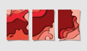 ensemble de fond de vagues rouges vecteur