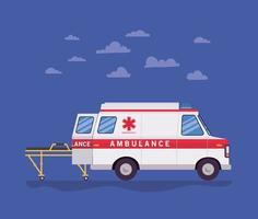 Ambulance paramédic voiture vue latérale civière et nuages vector design