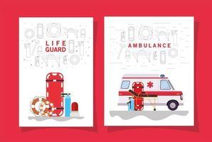 ensemble de bannière d & # 39; urgence médicale vecteur