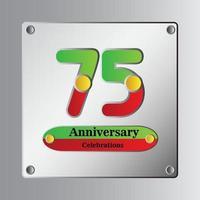 Illustration de conception de modèle de vecteur anniversaire 75 ans