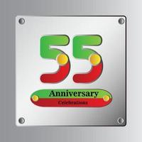 Illustration de conception de modèle de vecteur anniversaire 55 ans