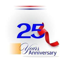 Illustration de conception de modèle de vecteur de célébration d'anniversaire de 25 ans