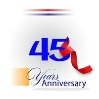 Illustration de conception de modèle de vecteur de célébration d'anniversaire de 45 ans