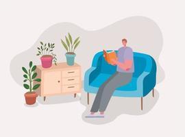 homme lisant un livre sur la conception du canapé vecteur