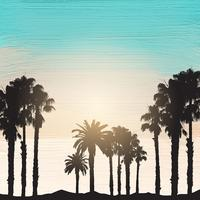 Palmiers sur fond de peinture acrylique vecteur