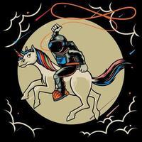 astronaute chevauchant une licorne sur l'illustration plate de vecteur de personnage de dessin animé de lune. cosmonaute de l'espace magique avec animal de conte de fées. imprimer pour des t-shirts et une autre conception de vêtements à la mode.