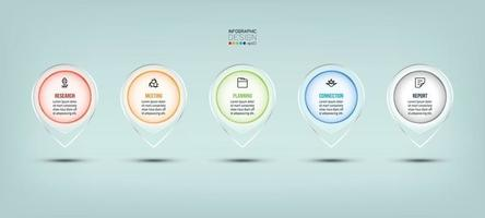 utilisation de design moderne en verre point avec présentation et explication. conception infographique de vecteur. vecteur