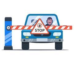 une barrière bloque le chemin de la voiture. conducteur bouleversé. panneau stop. illustration vectorielle plane. vecteur