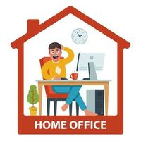 l'homme travaille à distance dans sa maison. conditions de travail confortables. illustration vectorielle plane. vecteur