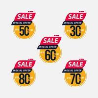 offre spéciale de vente jusqu'à 30 50 60 70 80 de réduction à durée limitée seulement illustration de conception de modèle vectoriel