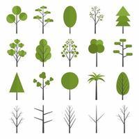 ensemble d'icône d'arbres forestiers. pin, épicéa, chêne, bouleau, tronc, tremble, aulne, peuplier, châtaignier, palmier pommier. concept d'arbre de forêt d'été vert. plat forêt arbre nature plante isolé feuillage écologique. vecteur