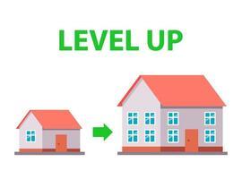 déménager dans une nouvelle maison. amélioration des conditions de logement. illustration vectorielle plane. vecteur