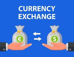l'homme échange des dollars contre des euros. illustration vectorielle plane.
