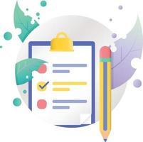 Liste de contrôle stylo choix icône illustration dans le cadre du cercle vecteur