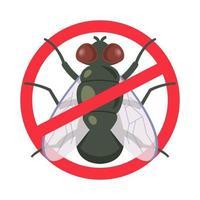 un moyen de protection contre les mouches domestiques. symbole barré. illustration vectorielle plane vecteur