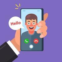 un ami passe un appel vidéo. conversation de deux personnes. illustration vectorielle de caractère plat. vecteur
