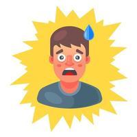 l'homme a eu peur et la sueur coulait sur son front. émotion de surprise. illustration vectorielle plane. vecteur