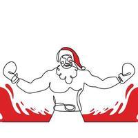 père noël avec gant de boxe dessin continu d'une ligne. noël père noël pose boxer homme avec un corps musclé isolé sur fond blanc. art de la ligne concept boxe pour Noël et nouvel an. vecteur