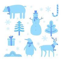 ensemble de dessin animé mignon noël. un ours, un renne, un bonhomme de neige et un pingouin. partie de la collection d'arrière-plans de Noël. peut être utilisé pour le papier peint, les motifs de remplissage, les textures de surface, les impressions sur tissu.