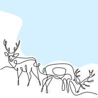 dessin d'une ligne continue de deux rennes. deux cerfs dans le design minimaliste de la forêt isolé sur fond blanc. hiver animal concept dessiné à la main ligne art vector illustration de croquis de la faune