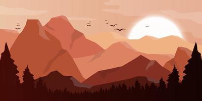 montagne beau paysage fond illustration de conception vectorielle vecteur