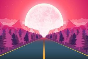 lune nature paysage fond illustration de conception vectorielle