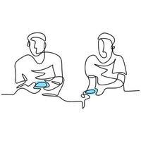 dessin au trait continu de deux jeunes joueurs jouant à une console de jeux. heureux homme assis sur le canapé se disputer à jouer à des jeux pendant leur temps libre. concept de joueur addict. illustration de croquis de vecteur