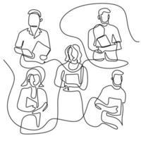 Un dessin au trait de groupes d'étudiants heureux debout pose après avoir étudié ensemble à la bibliothèque universitaire. apprendre et étudier dans le concept de vie sur le campus. design minimaliste. illustration vectorielle vecteur