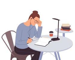 fille heureuse étudie avec des livres. fille étudiante au bureau écrit pour ses devoirs. retour à l'école. étudier sur la table. concept d'étude. illustration vectorielle plane. vecteur