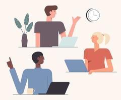 illustration vectorielle de collaboration amicale travail d'équipe. temps de coopération. équipe de collègues créatifs nouveau projet ensemble design de style plat. concept de teambuilding vecteur