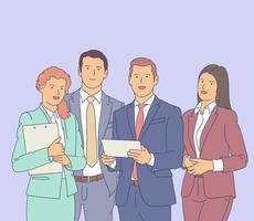équipe commerciale réussie, travailleurs heureux. illustration vectorielle plane. vecteur