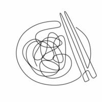 dessin au trait continu unique de délicieux spaghettis avec des baguettes. Italie pâtes nouilles restaurant concept main dessiner ligne art design illustration vectorielle pour café, boutique ou service de livraison de nourriture vecteur