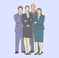 équipe de gens d'affaires, concept de collaboration, travail d'équipe. groupe de jeunes hommes d'affaires, debout ensemble unis par le coworking, le travail d'équipe au bureau. collaboration de commis, gestionnaire vecteur