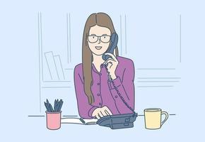 affaires, communication, discussion, concept de travail. jeune heureux avec un sourire femme, femme d & # 39; affaires, fait un appel d & # 39; affaires important. vecteur