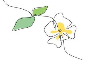 fleur de beauté fraîche un style de dessin au trait continu. belle fleur décorative imprimable pour le design dessiné à la main icône parc. concept de beauté de la vie écologie végétale nature. illustration de conception de vecteur