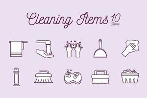 jeu d & # 39; icônes de service de nettoyage vecteur