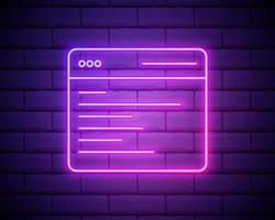 icône de néon de page Web de recherche de navigateur. éléments de l'ensemble du navigateur. icône simple pour sites Web, conception de sites Web, application mobile, graphiques d'informations isolés sur le mur de briques vecteur