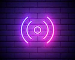 logo de signe au néon isolé réaliste de vecteur pour la décoration et le revêtement sur le fond du mur. concept de médias sociaux et de streaming en studio de cinéma