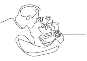 ligne unique tirée d'une ligne continue d'un homme scientifique avec un microscope. le scientifique analyse dans la recherche pour trouver le vaccin covid19. concept de coronavirus de recherche médicale isolé sur fond blanc vecteur