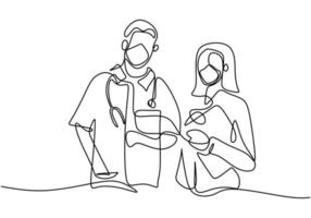 Un seul dessin au trait d'un médecin professionnel et d'une infirmière en masque facial debout posant ensemble travail d'équipe médical contre le coronavirus isolé sur fond blanc. style minimaliste. vecteur