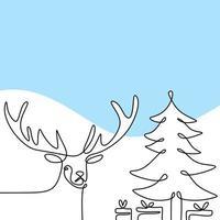 arbres de Noël et cerfs de dessin vectoriel continu une ligne. renne avec boîte-cadeau fête de Noël en hiver. bannière joyeux noël, style minimaliste isolé sur fond blanc