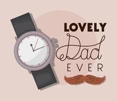 bannière de fête des pères avec conception de vecteur montre et moustache