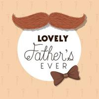 bannière de fête des pères avec moustache et conception de vecteur de noeud papillon