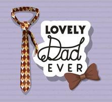 bannière de fête des pères avec conception de vecteur noeud papillon et cravate