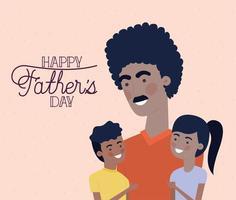 bannière de fête des pères avec père afro avec enfants vecteur